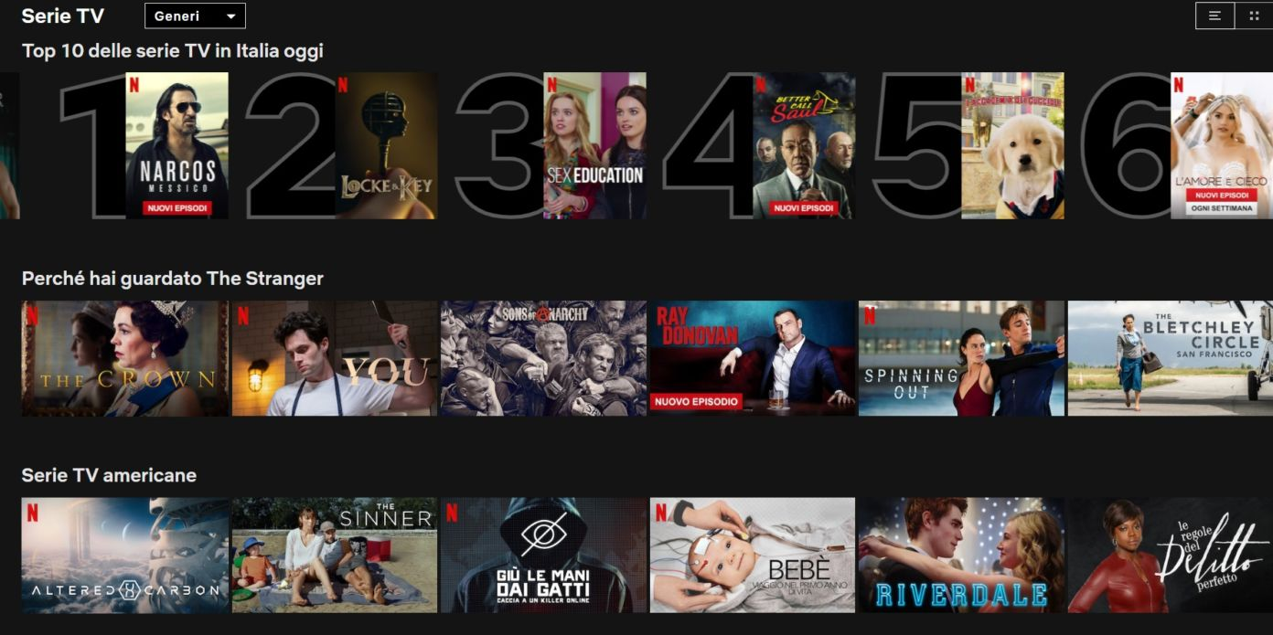 Su Netflix arriva la Top Ten quotidiana dei film e delle ser
